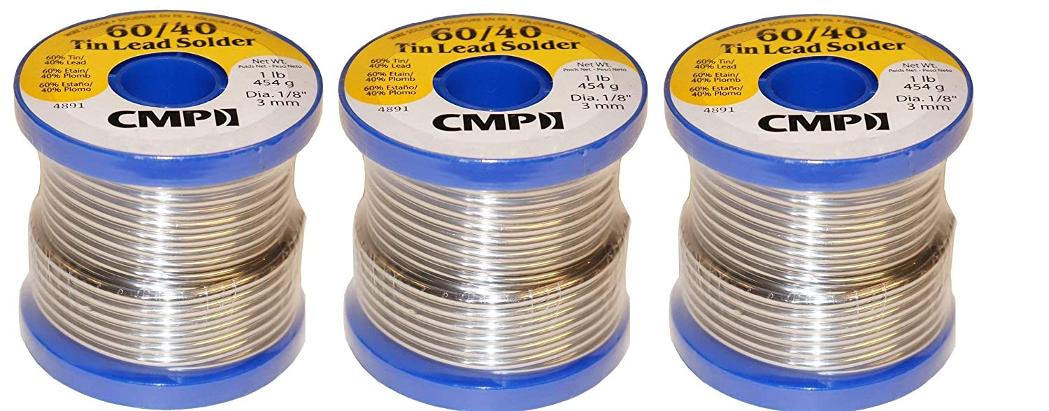 CMP Solder WSP604012501 60/40 Tin/Lead Premium Solder For Stained Glass, 1 Pound Spool, 1/8