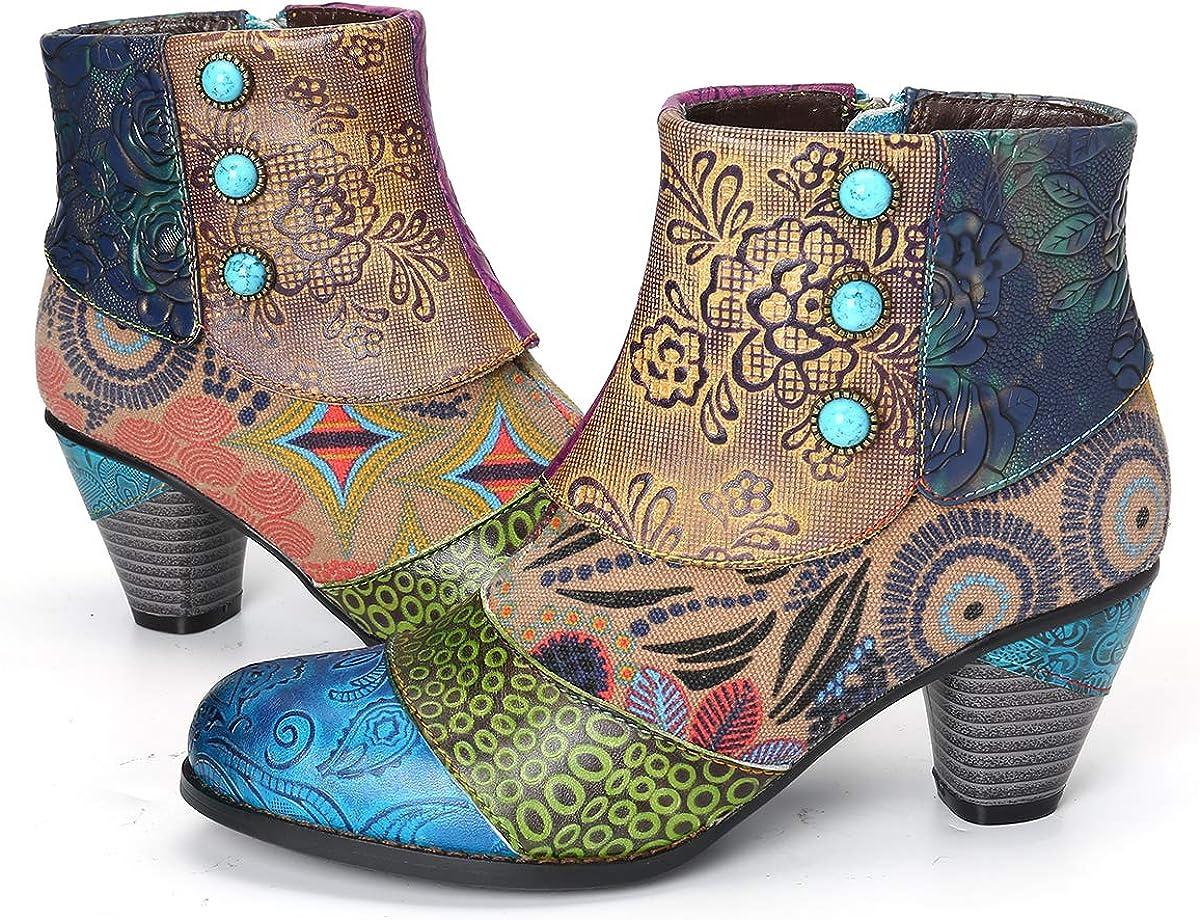 gracosy Block Heel Ankle Booties,Women's Bohemian Splicing Pattern Side Zipper High Block Heel Ankle Leather Boots