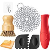 7 Pieces Cast Iron Cleaner Set Include Stainless Steel Chainmail Scrubber with Bamboo Dish Scrub Brush Hot Handle Holder…