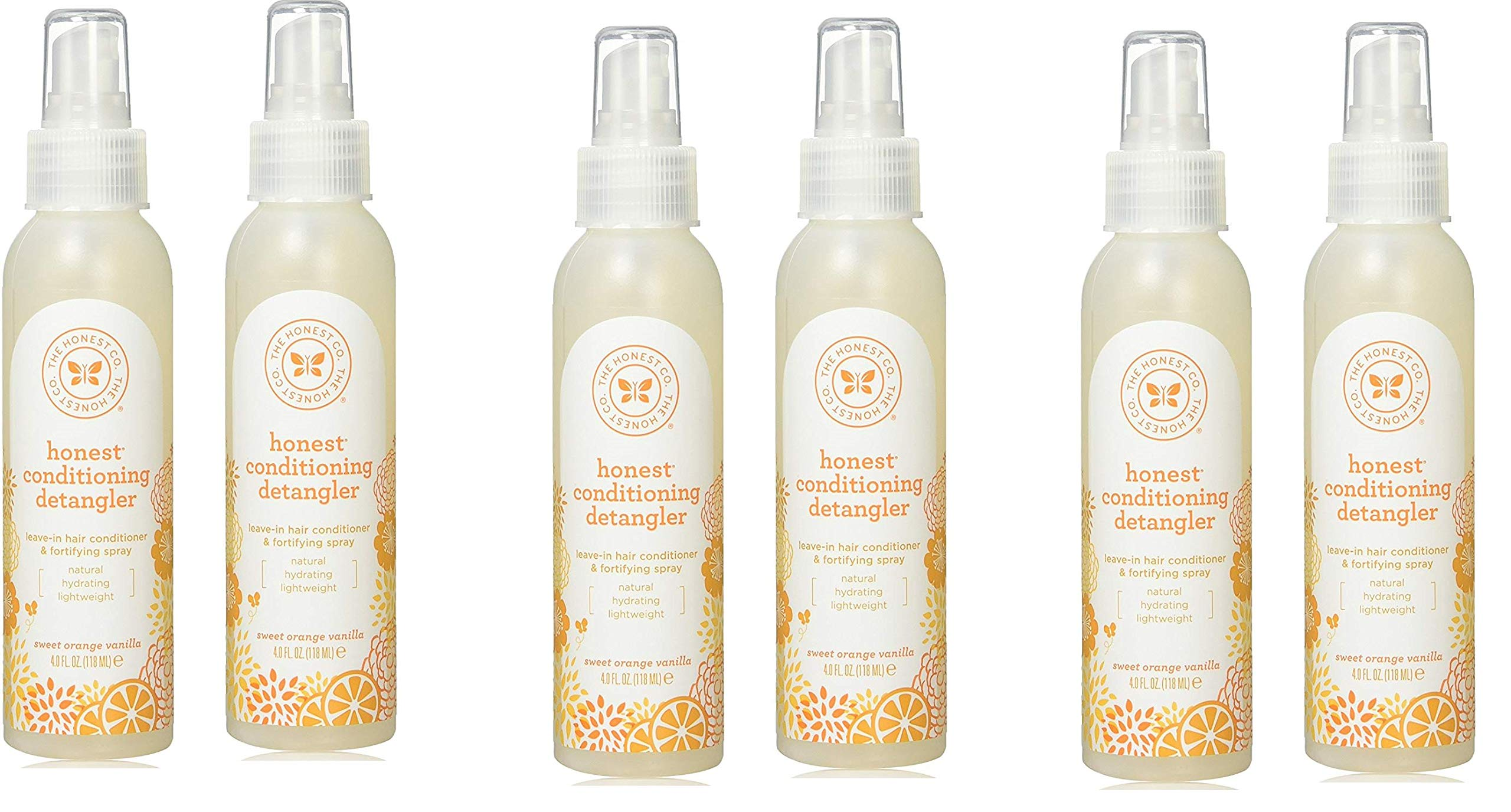 Conditioning Detangler, Leave-in Conditioner and Fortifying Spray - Sweet Orange Vanilla, 4 fl oz, 6 Bottles