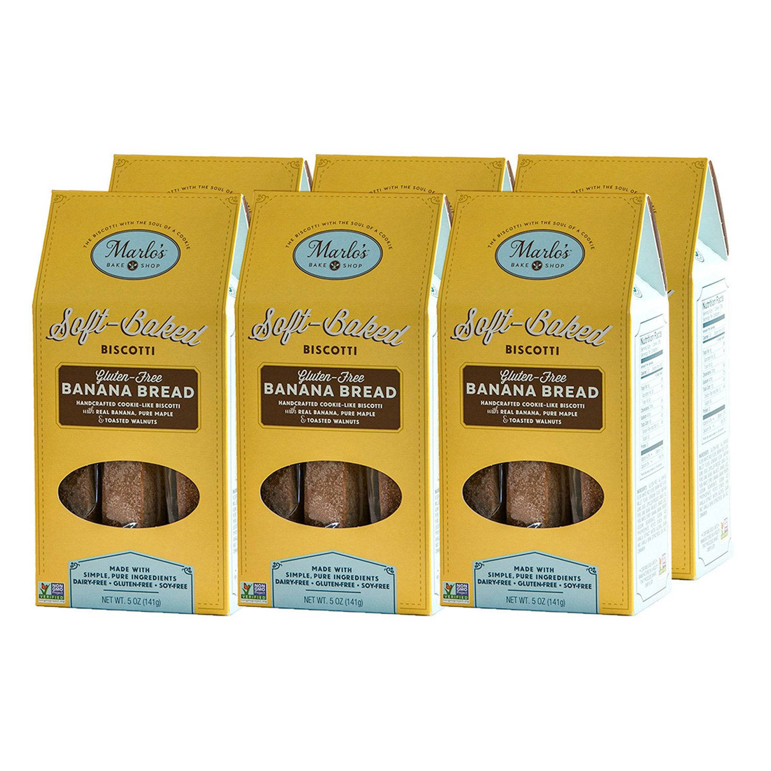 Marlo's Bakeshop | Individually Wrapped Biscotti, Gluten-Free, Keto Snack Friendly, Banana Bread Gourmet Biscotti Cookies, Dairy-Free, Soy-Free, Non-GMO, Wheat-Free, (30 Servings) by Marlo's Bakeshop