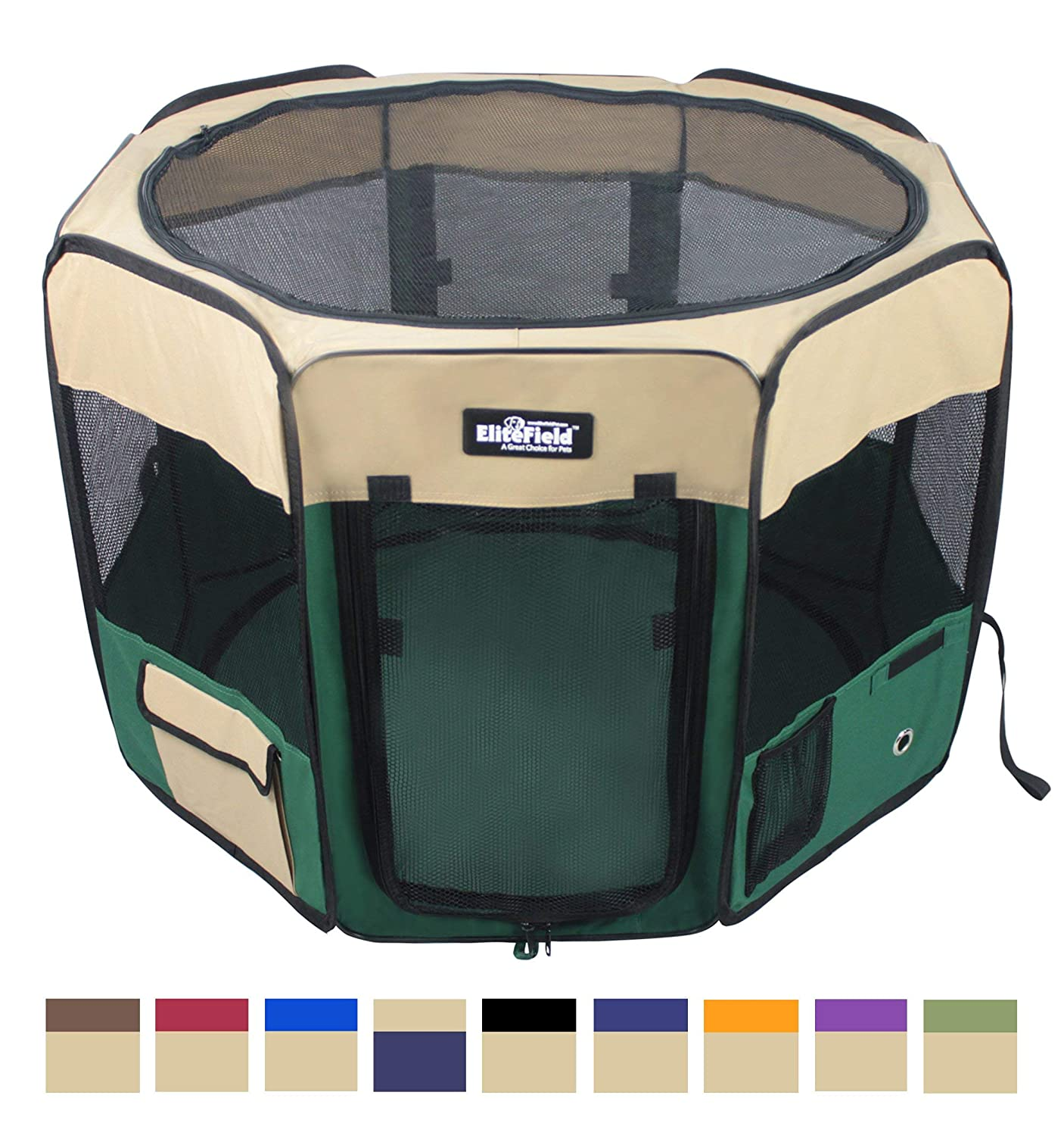 Beige+Green 36  x 36  x 24 HEliteField 2Door Soft Pet Playpen, Exercise Pen, Multiple Sizes and colors Available for Dogs, Cats and Other Pets (52  x 52  x 32 H, Brown+Beige)
