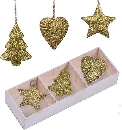6pcs Décorations De Noël En Bois Sapin De Noël Ornements Pendentif Fête De Noël
