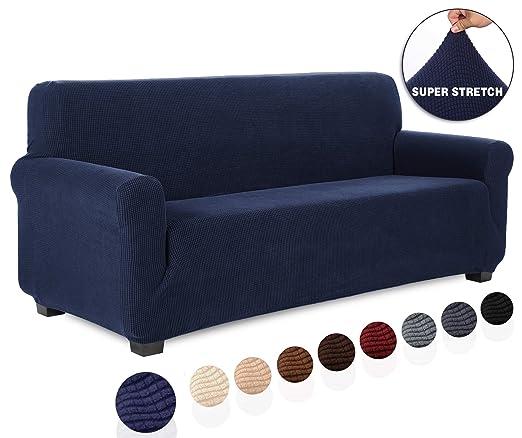 TIANSHU Funda de sofá 3 plazas Tejido Jacquard de poliéster y Elastano Fundas de sofá Suaves duraderas(3 plazas,Azul Oscuro)