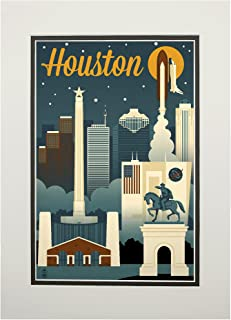 product image for Houston, Texas - Retro Skyline (11x14 Double-Matted Art Print, Wall Decor Ready to Frame)