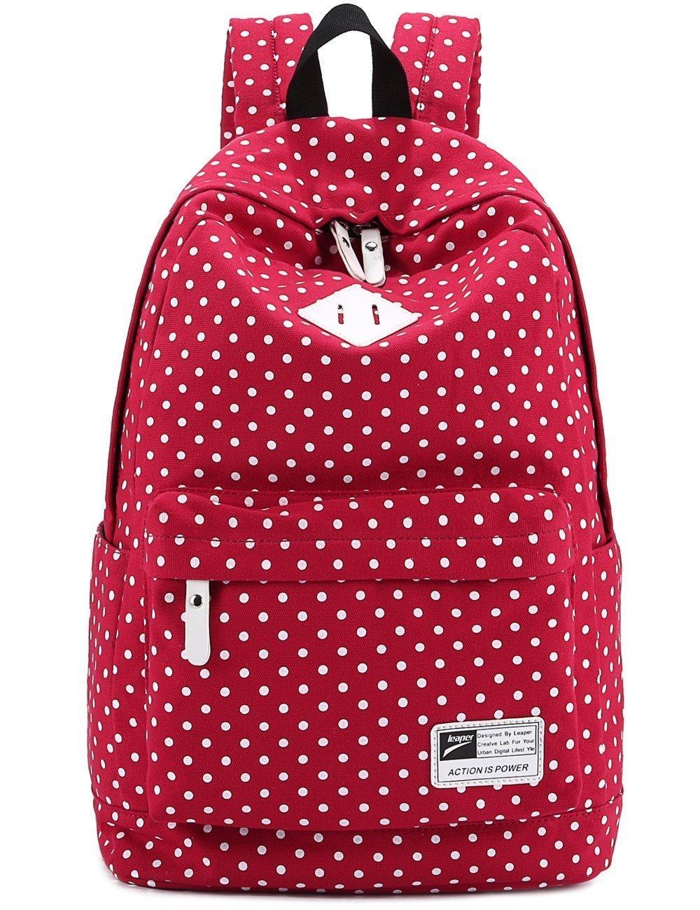 Mochila Bolsa de hombro Bolso de lona Mochila de lunares Trendy Moda Modismo para chichas viaje Bolsa para PC portátil revista A4 iPad etc (rojo): ...