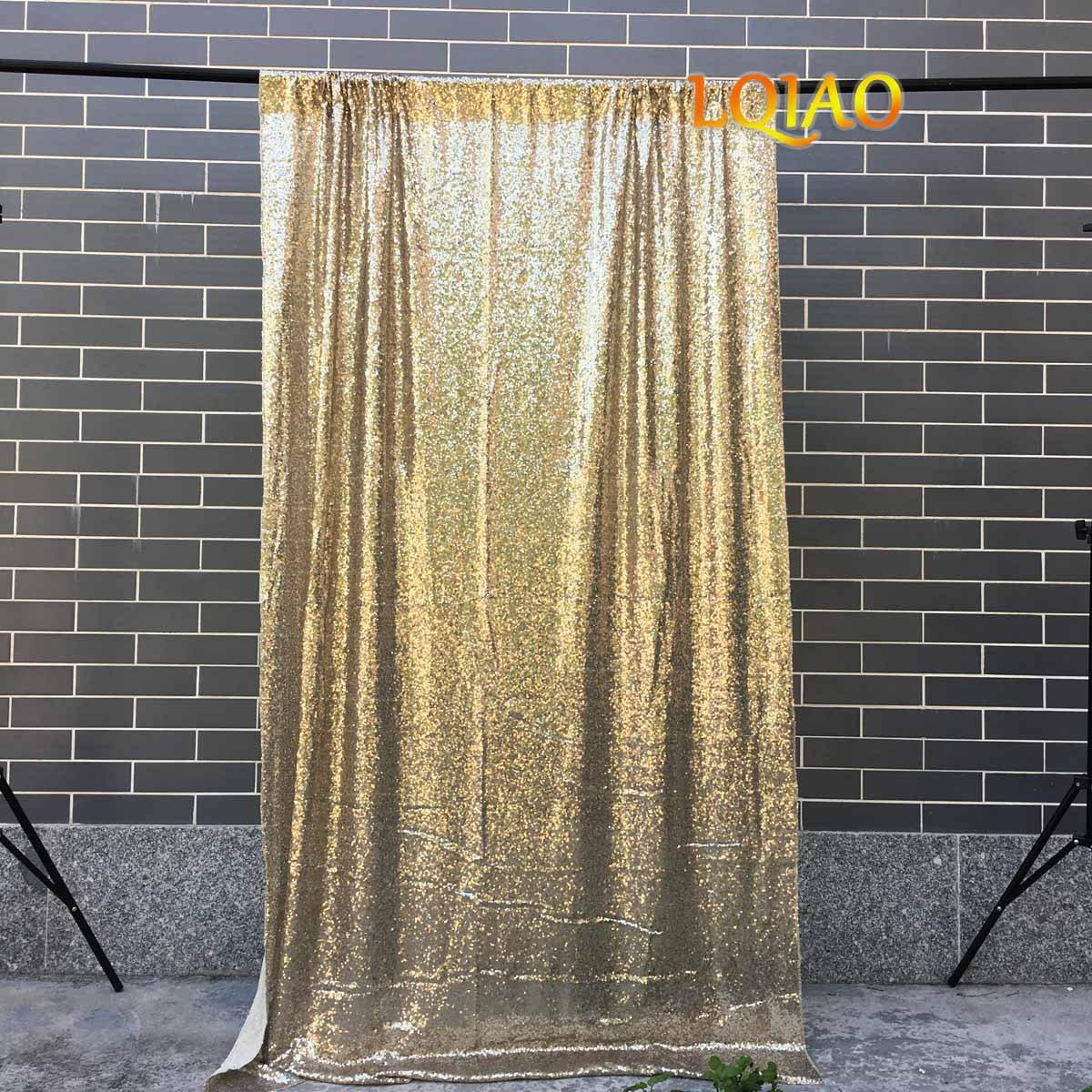 LQIAO ライトゴールド スパンコール バックドロップ 4フィートx8フィート キラキラスパンコール ファブリック 写真背景 刺繍 フルスパンコール メッシュ生地 背景 パーティー ウェディング セレモニー 背景   B07GN848QZ
