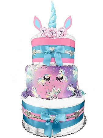 Amazon.com: Unicornio 3 pisos para tartas de pañales para ...