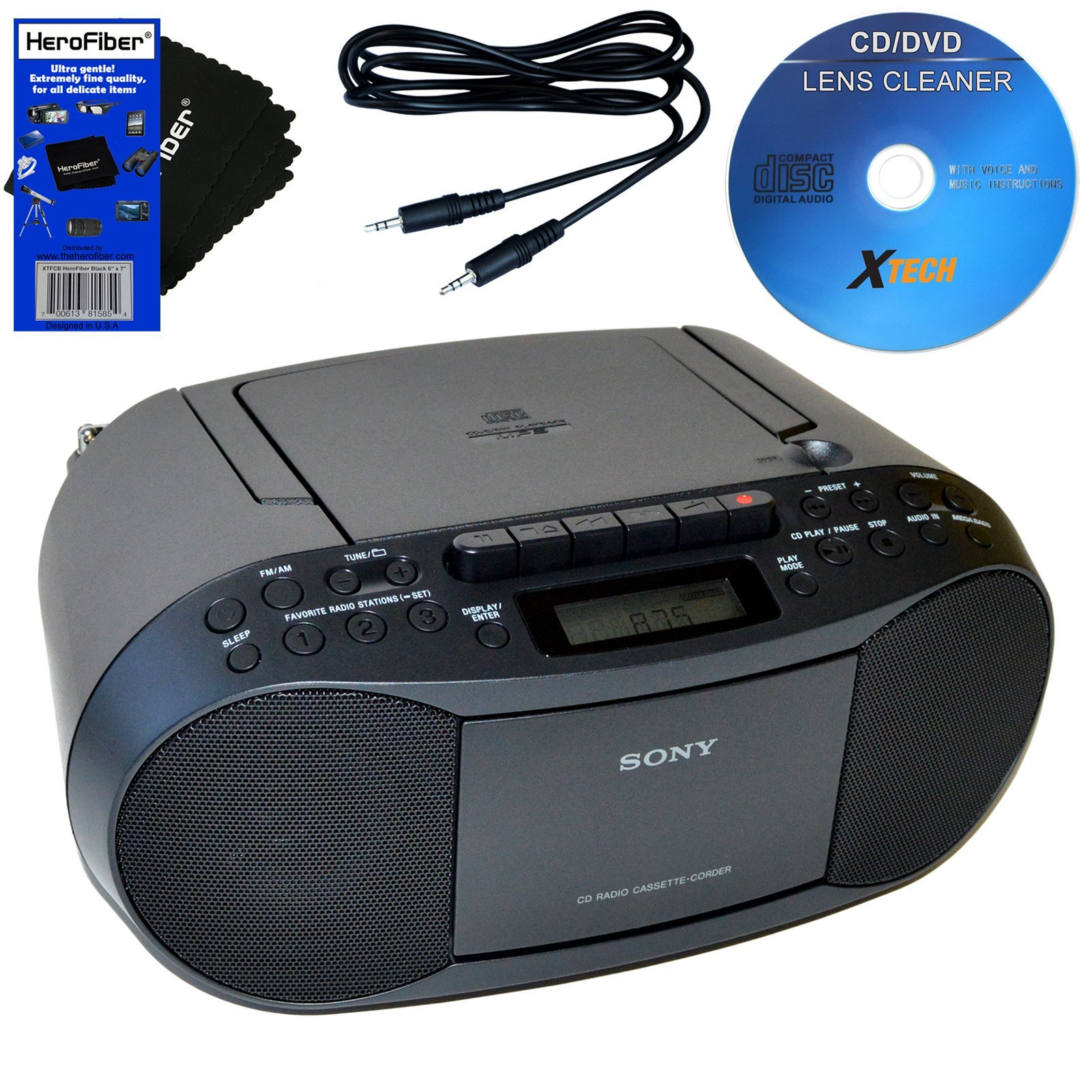 Sony CD Radio Cassette Recorder Bundled with AC Power Auxiliary Cable for iPods, iPhones, Smartphones, MP3 Players, Xtech CD Lens Cleaner & HeroFiber Ultra Gentle Cleaning Cloth by Sony
