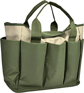 Garden Tool Bag, Canvas Heavy-duty Garden Tote With Pockets Large Organizer Bag Carrier Gardening Storage Tote for women Men Garden Plant Tool Set Store Content Bag