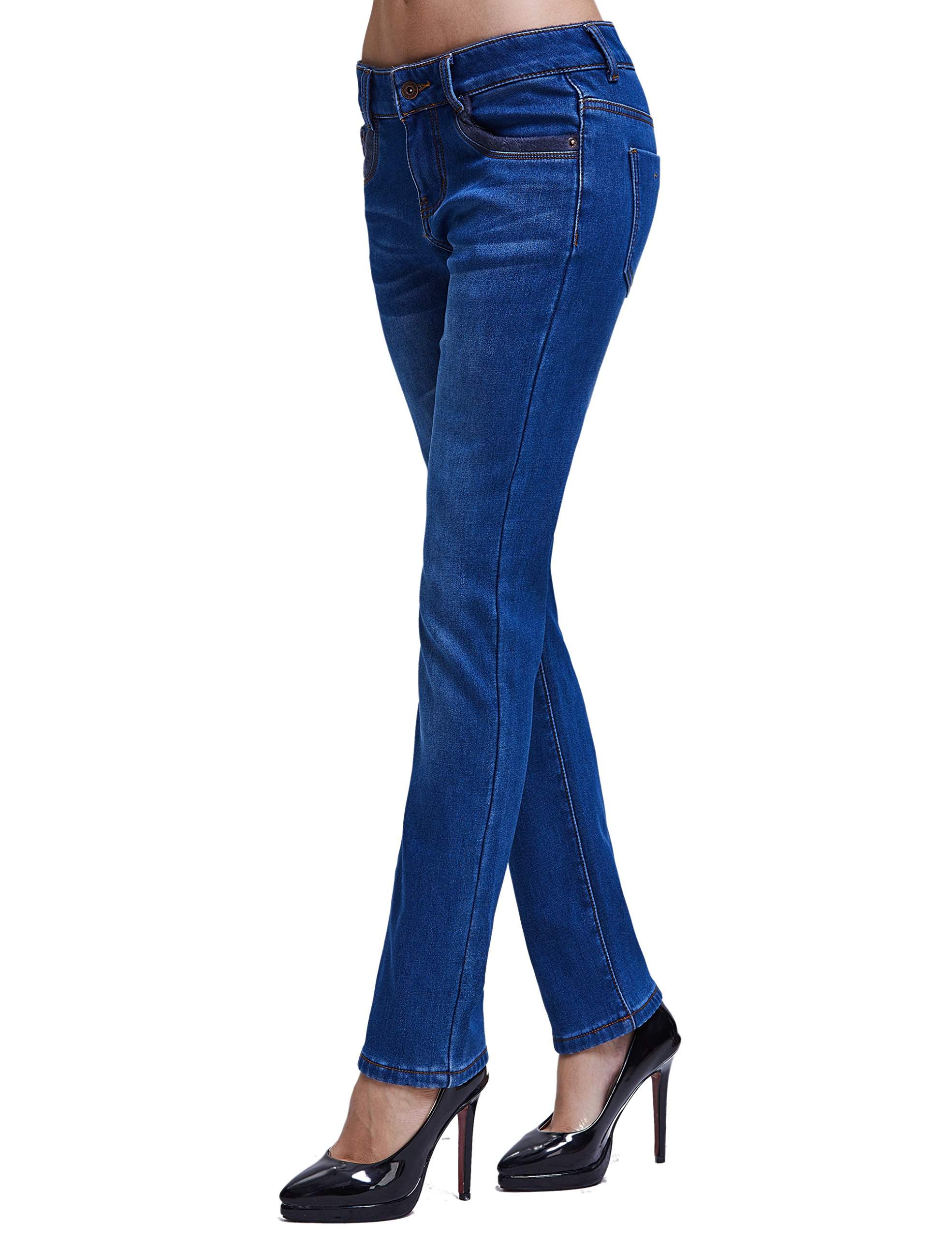 Camii Mia Women's Winter Slim Fit Thermal Jeans Pants (W28 x L30, Blue (New Size)) by Camii Mia (Image #4)
