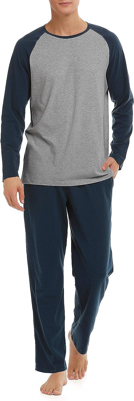 DAVID ARCHY Mens Cotton Sleepwear Long Sleeve Top and Bottom Pajama Set