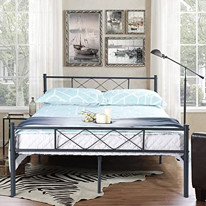 41eb9d6b4c7 Amazon.com  SimLife Metal Platform Bed Frame with Two Headboards Mattress  Foundation Slat Support No Box Spring Needed