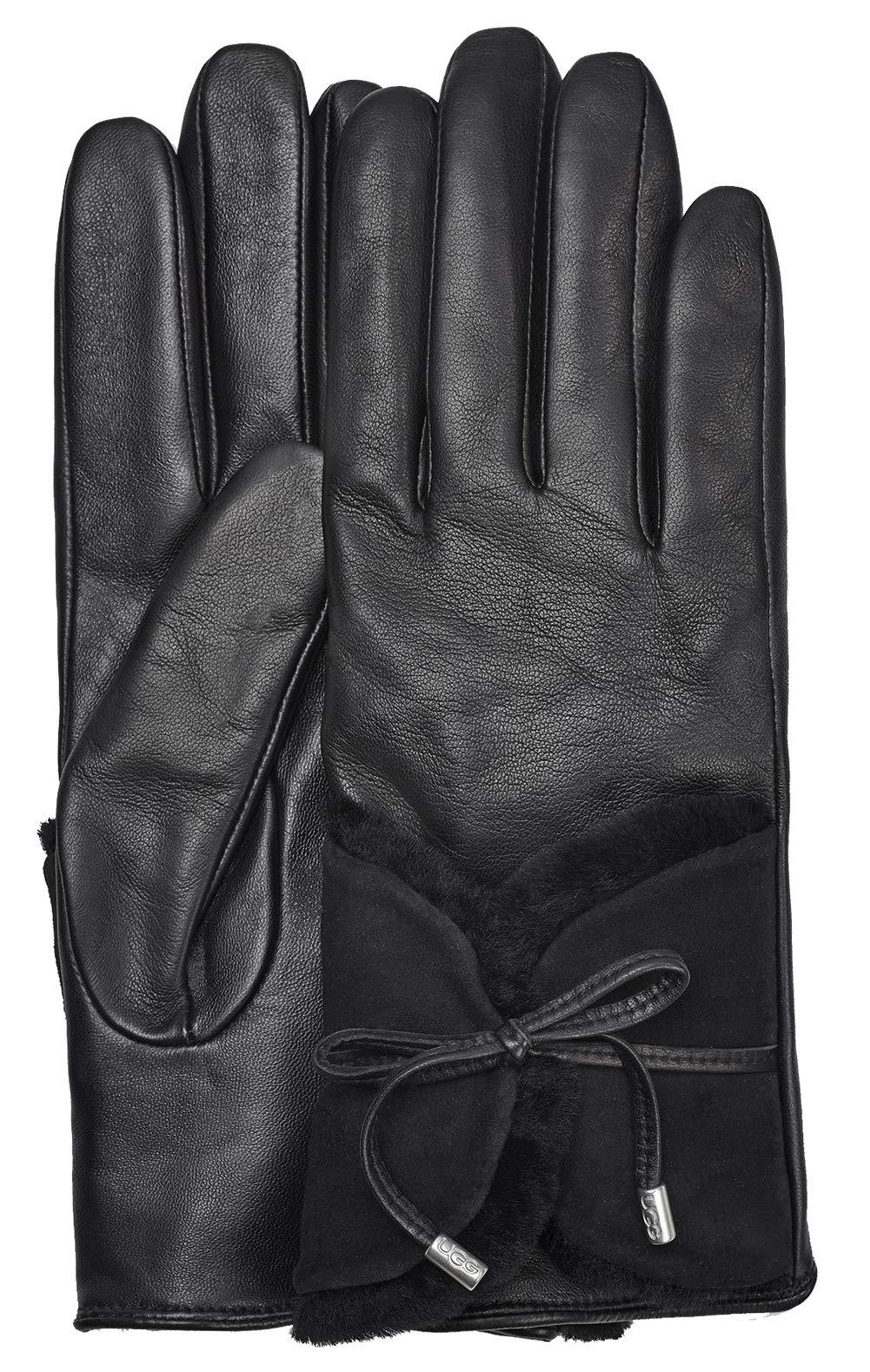UGG Womens Combo Sheepskin Trim Glove, Black, Size Small