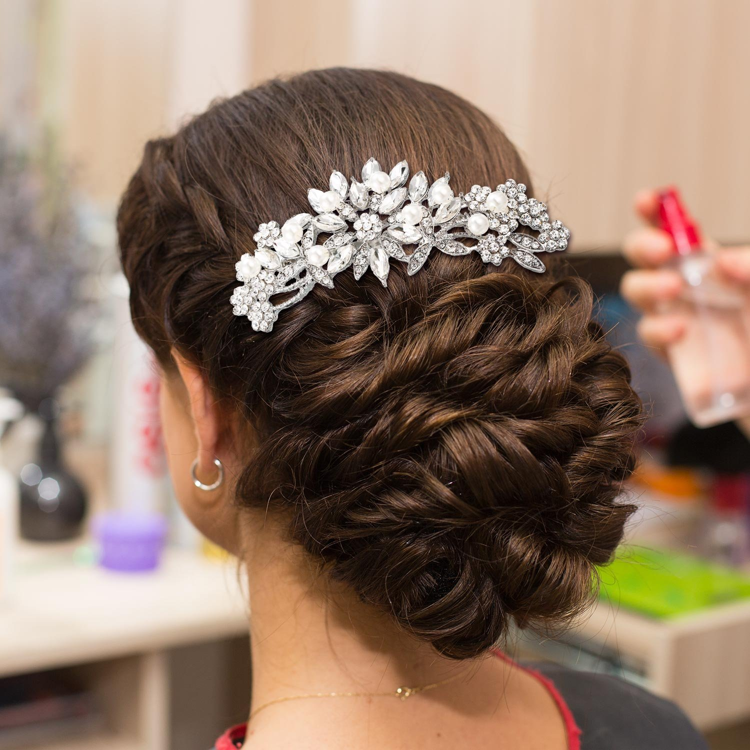 Gejoy 3 Pieces Elegant Wedding Crystal Hair Accessories, Leaves Flowers Hair Comb and 2 Pieces Rhinestone Bridal Hair Pins for Women, Bride or Bridesmaid by Gejoy (Image #6)