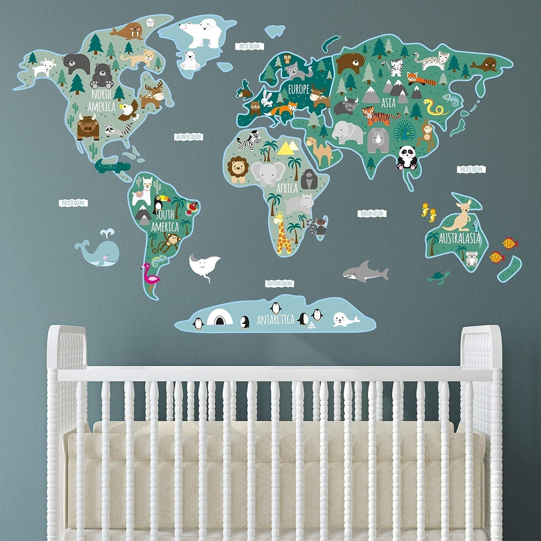 World Map Childrens Nursery Wall Stickers, Baby Room Decor
