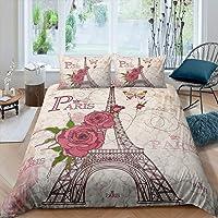 Erosebridal Eiffel Tower Duvet Cover, Exotic Floral Patterns Bedding Set, Butterfly Pattern Comforter Cover Retro Quilt…