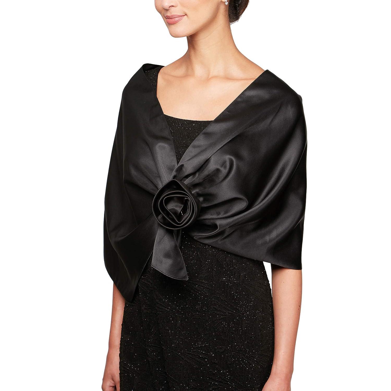 Black Shawl Alex Evenings Womens 3 4 Sleeve Bolero Shrug Jacket Shawl Special Occasion Dress