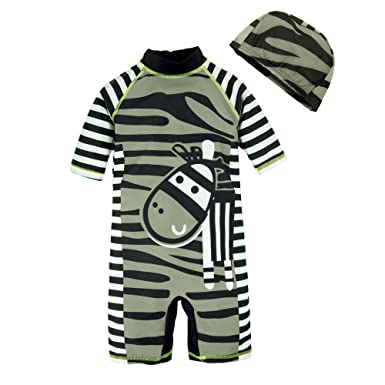 ea818ee35d BIG ELEPHANT Kids Boys'2 Pieces Stripe Animals Beach Swimsuit Swimwear with  Hat Q66