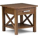 Simpli Home Kitchener End Side Table, Medium Saddle Brown