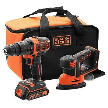 BLACK+DECKER BCK23S1S-QW - Taladro percutor 18V y lijadora de detalles Mouse 18V con 1 batería 1.5Ah, cargador y bolsa de transporte
