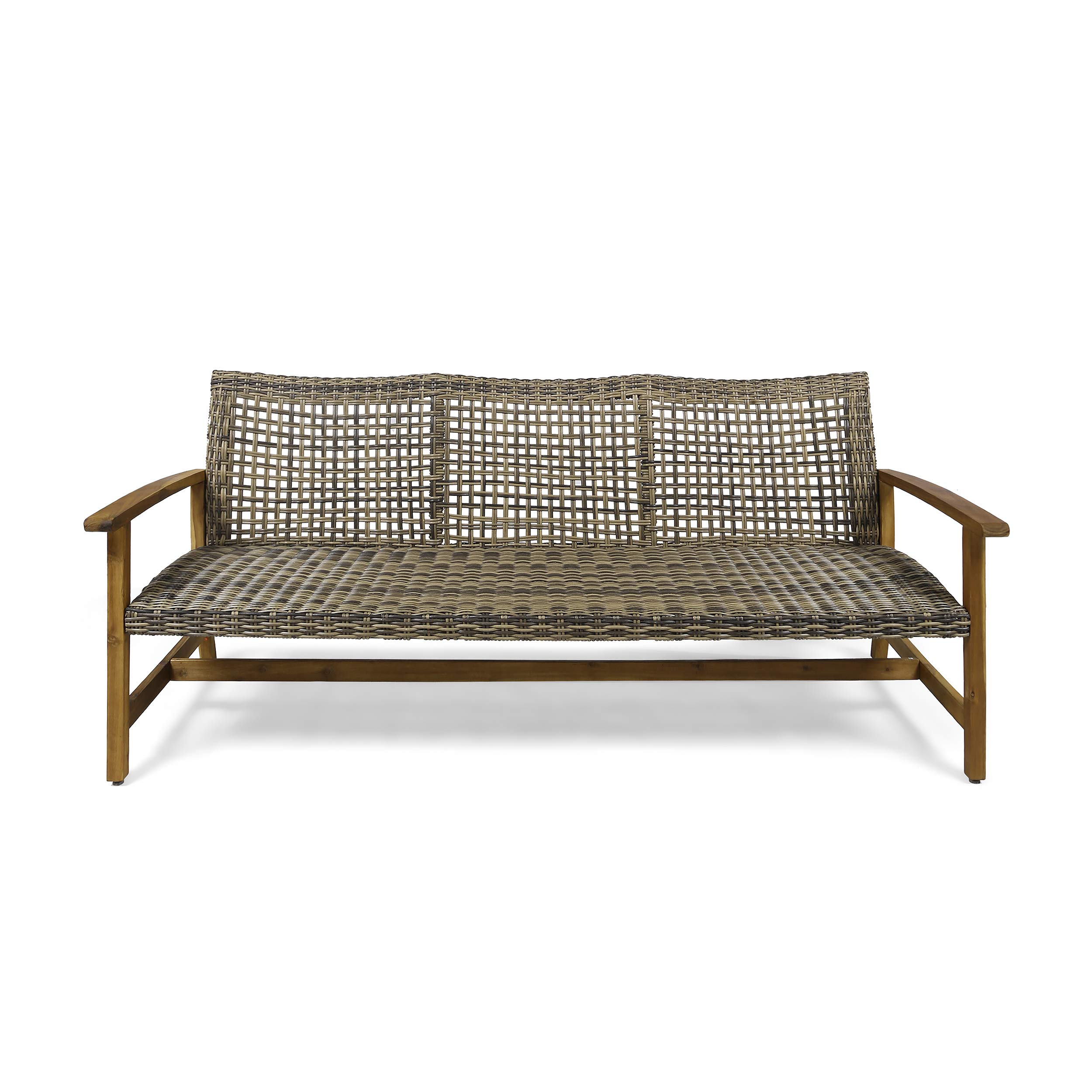 Christopher Knight Home 307797 Marcia Outdoor Wood Sofa, Wicker, Gray, Natural Stained Finish by Christopher Knight Home
