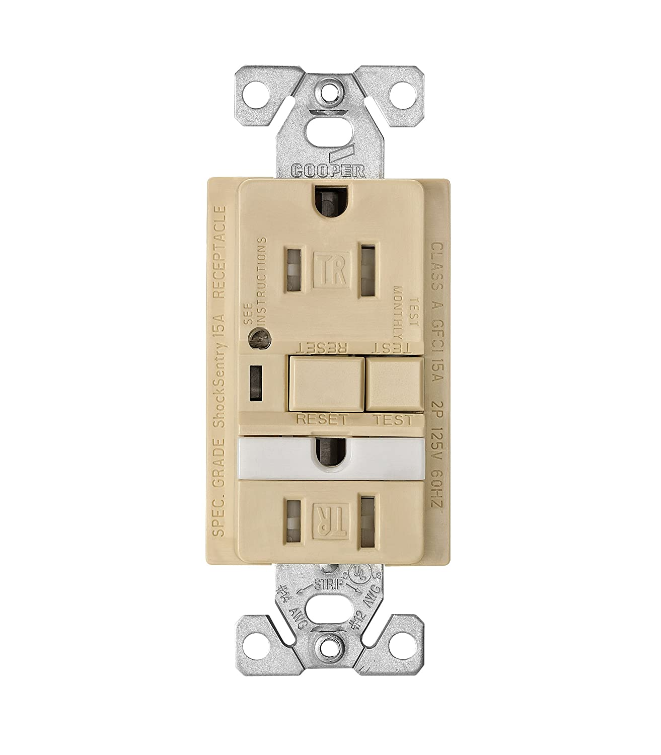 Eaton Trvgfnl15w Tamper Resistant 15 Amp Combination Gfci Receptacle Ivory Electrical Outlets Light Switches 15a Gfi Outlet With Nightlight White Finish Ground Fault Circuit Interrupter