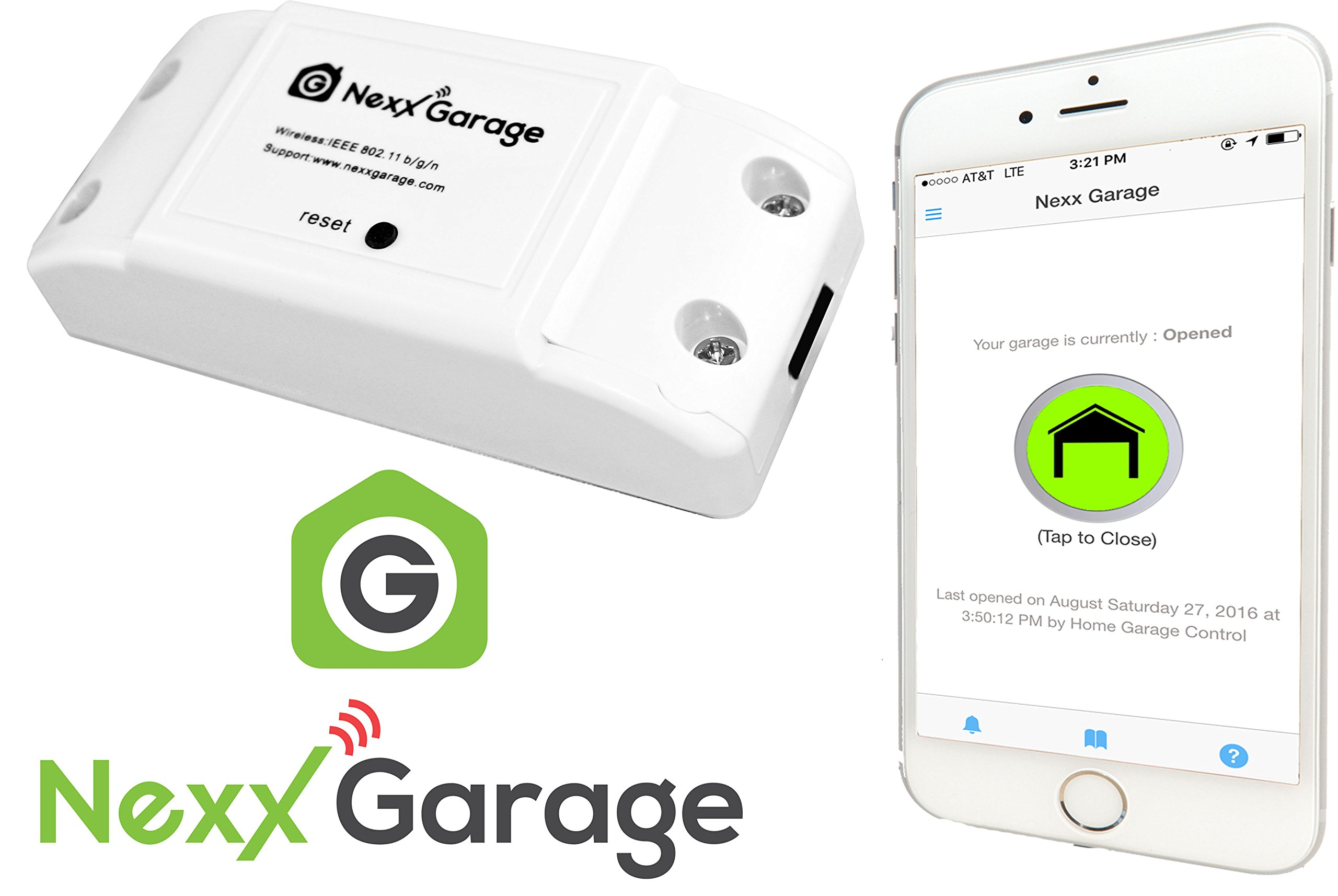 Nexx Garage NXG-100 Nxg Remote Compatible Door Openers-Control Using Smart Phone, Amazon Alexa and Google Assistant Enabled Devices, White