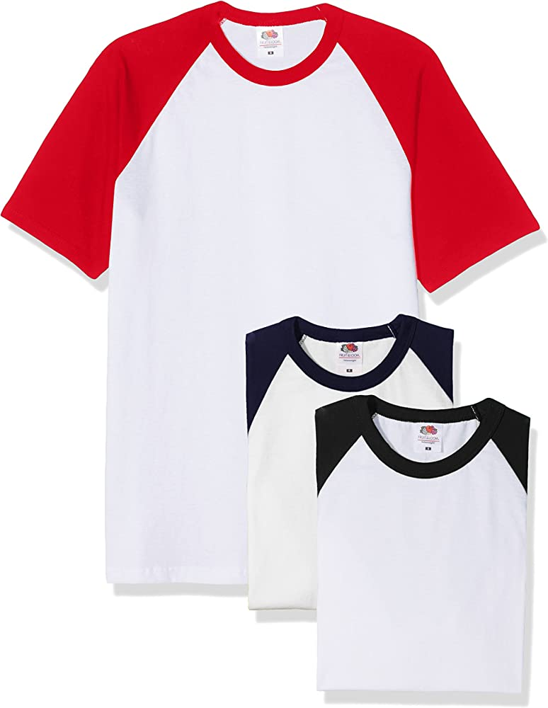 Fruit of the Loom Baseball Classic Short Sleeve Camiseta, Blanco Negro/Blanco Azul Marino/Blanco Rojo, S (Pack de 3) para Hombre: Amazon.es: Ropa y accesorios