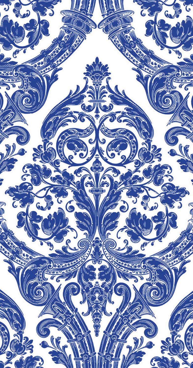 Ideal Home Range 32 Count 3-Ply Paper Guest Towel Dinner Buffet Napkins, Damask White Blue by Ideal Home Range