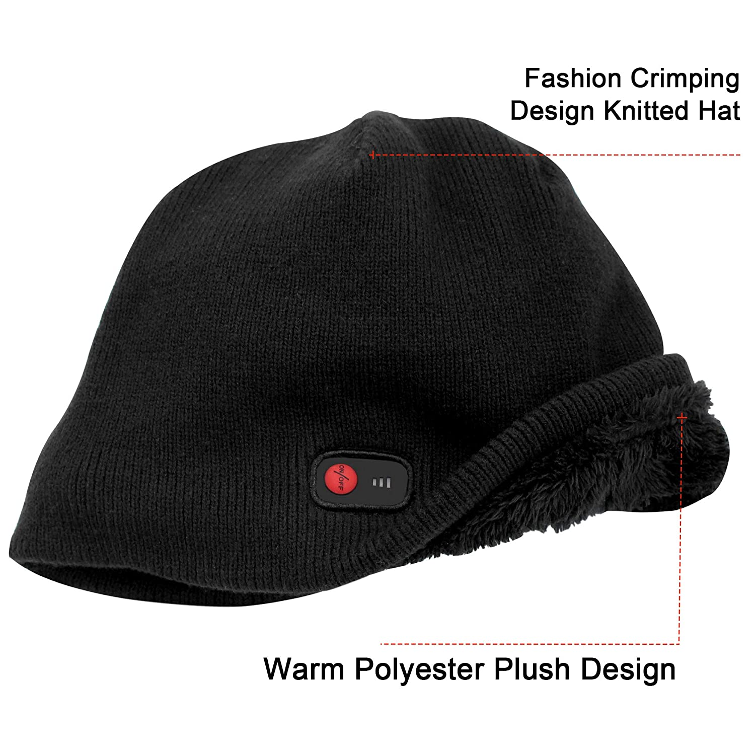 3c5b2174ecd QILOVE Women Men Winter Warm Knit Hat Electric Heated Hat Rechargeable  Battery Operated Snow Hat Thick Skull Cap Slouchy Beanie for Outdoor Sports  Hunting ...