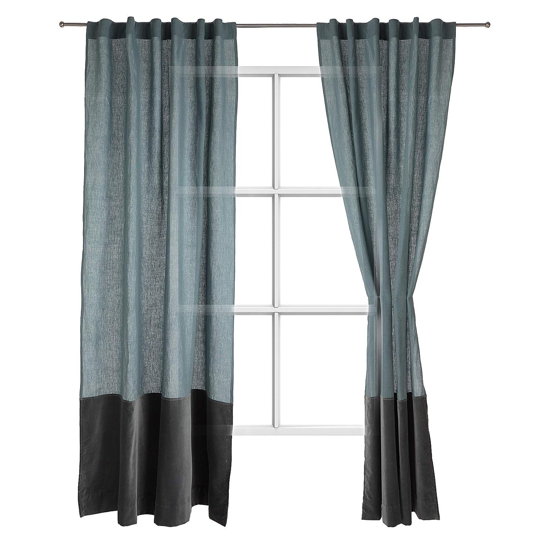 """URBANARA Vorhang """"Saveli"""" aus Leinen und Baumwolle im Blockdesign, einzelner Schal-Für Fenster im Wohnzimmer, Schlafzimmer, 135 x245cm-Helles Grüngrau/Grüngrau"""