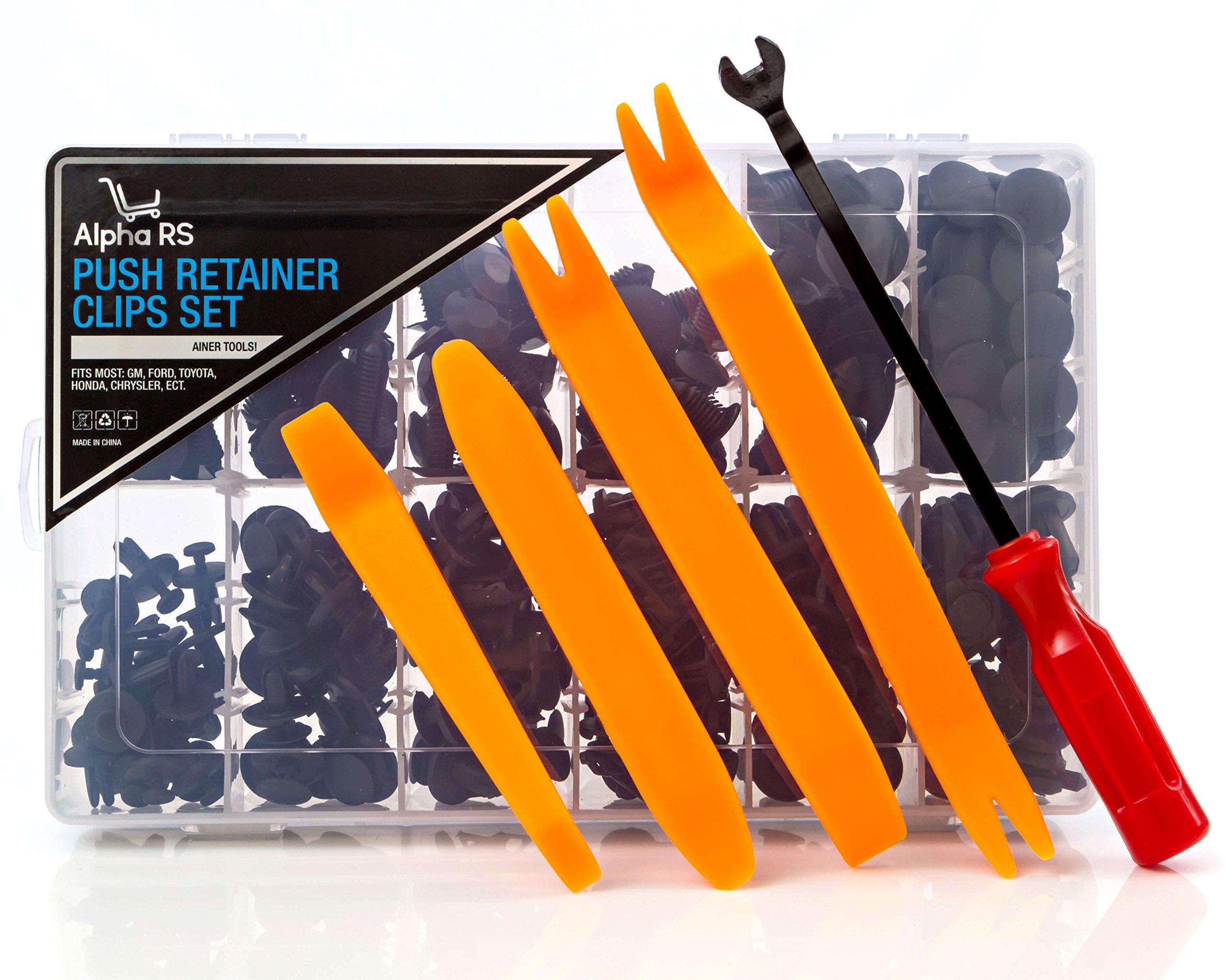 Car Auto Truck Plastic Push Pin Retainer Clip Fastener Tool Kit | 240pc Large Storage Box Set Removal Install Bumper Audio Interior Door Panel Fender Trim Rivet Accessory GM Honda Ford Toyota Chrysler