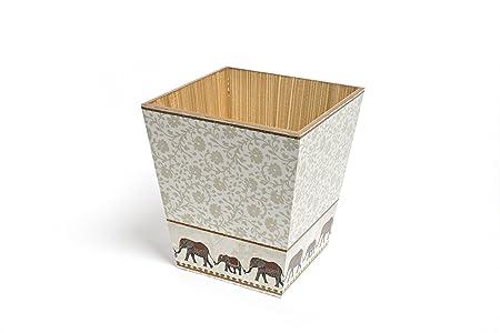 Beige Lifetime Rattan Style Plastic Kitchen Office Waste Paper Basket Rubbish Bin