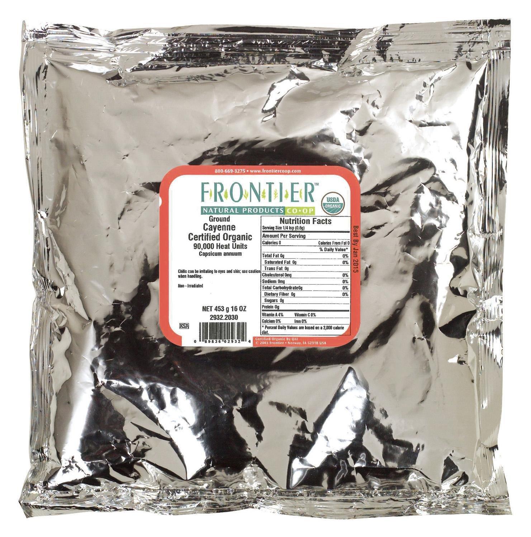 Frontier Herb Chili Pepper - Organic - Cayenne - Ground - 75000 HU - Bulk - 1 lb