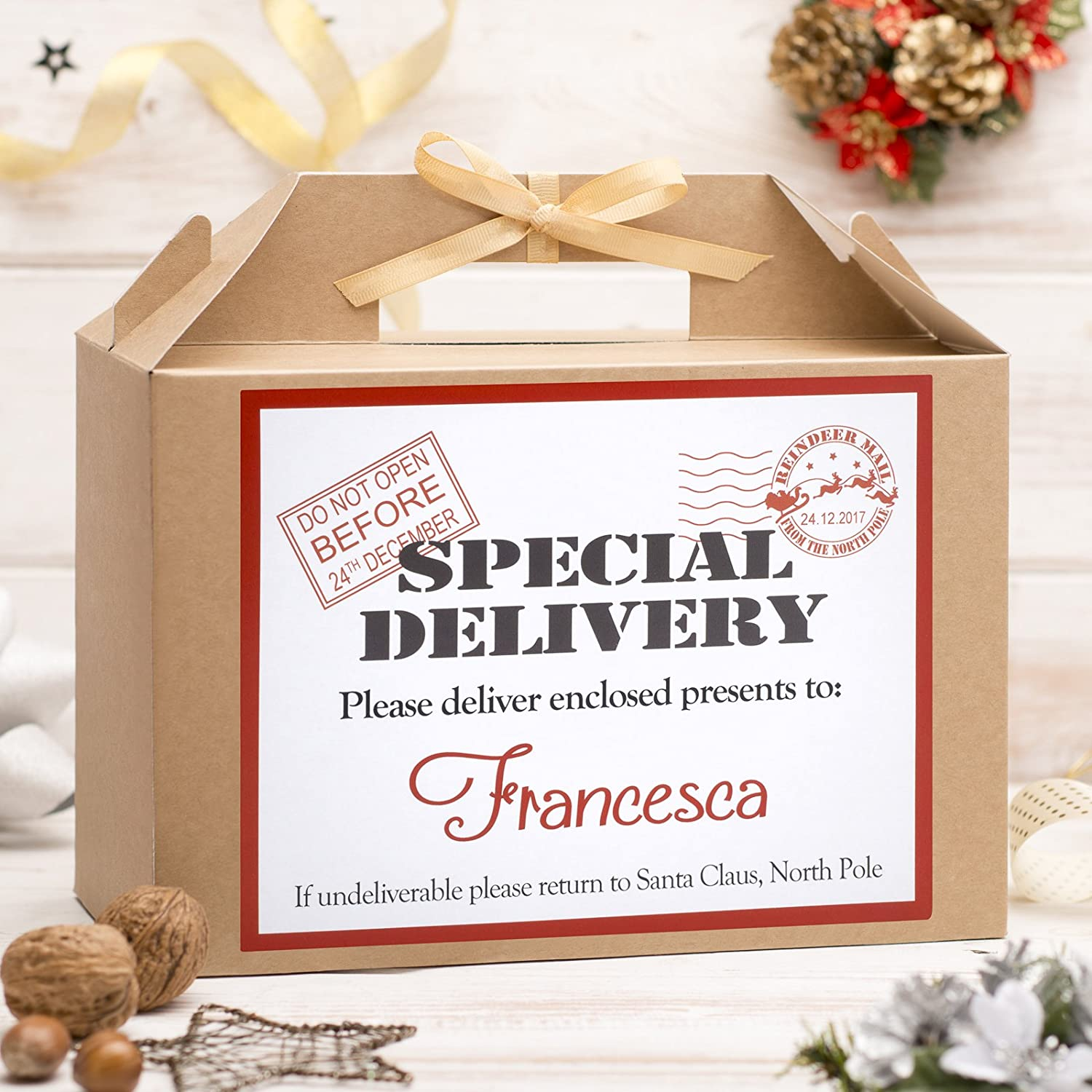 Personalised Large Christmas Eve Box | Kraft Brown | Gold Ribbon ...
