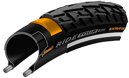 Continental Ride Tour Replacement Bike Tire - Extra Puncture Protection, E-Bike Rated City/Trekking Bicycle Tire (12', 16', 20', 24', 26', 27', 28', 700c)