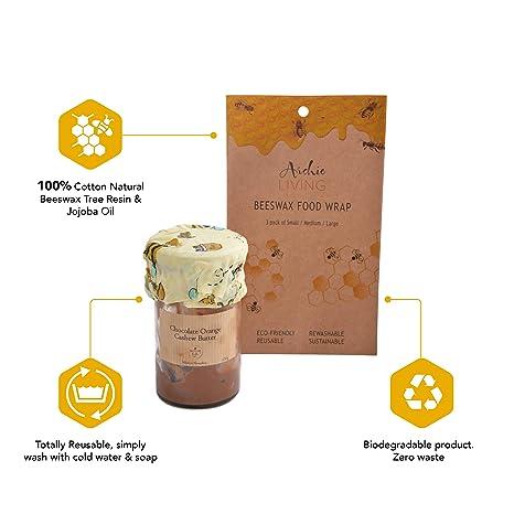 Empaquetado de Comida Orgánico de Cera de Abeja | Hecho de algodón, Cera de Abeja, Aceite de Jojoba, Resina de Árbol | Reusable, Lavable y Biodegradable ...