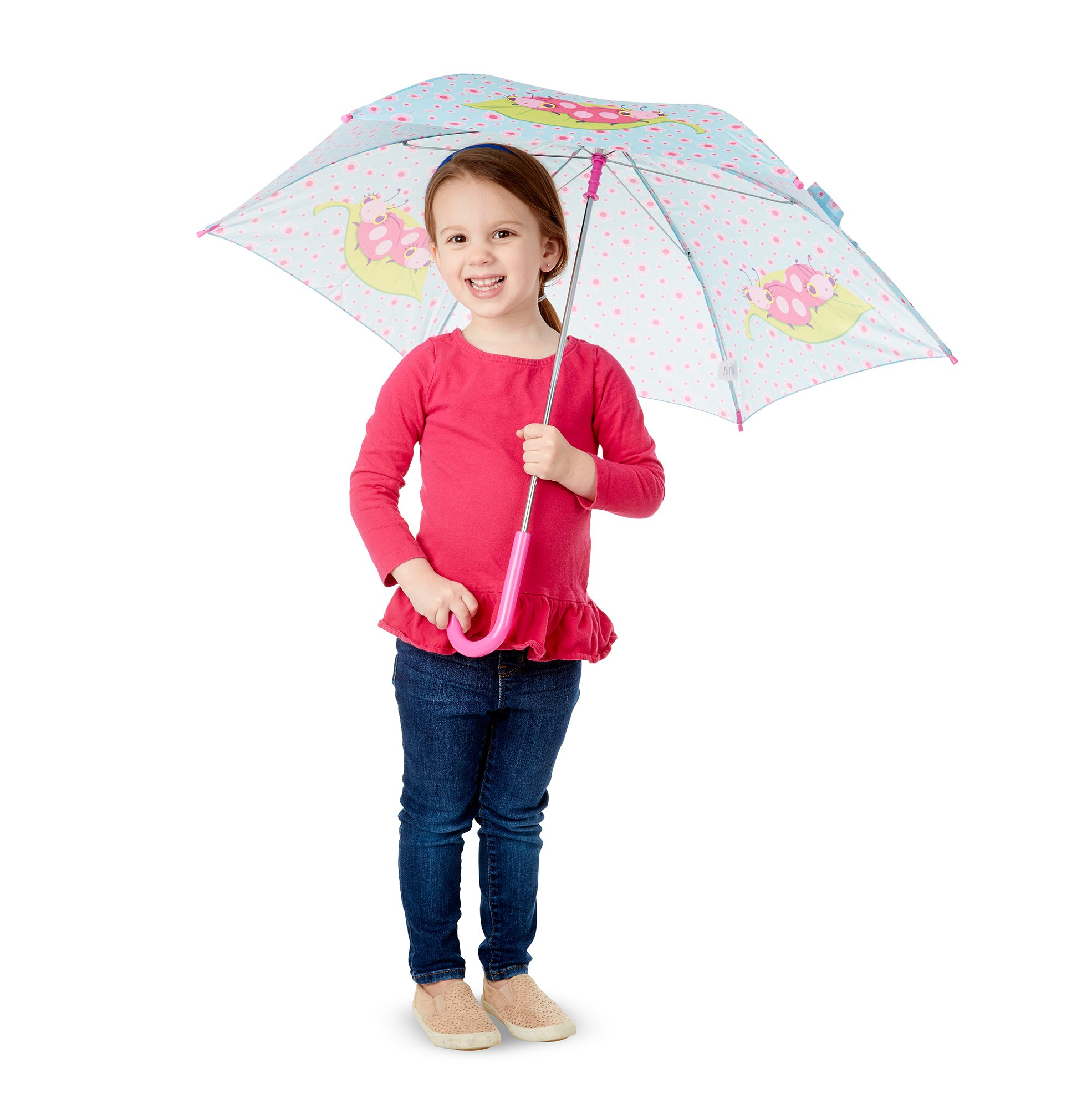 Melissa & Doug Trixie Ladybug Umbrella for Kids With Safety Open and Close