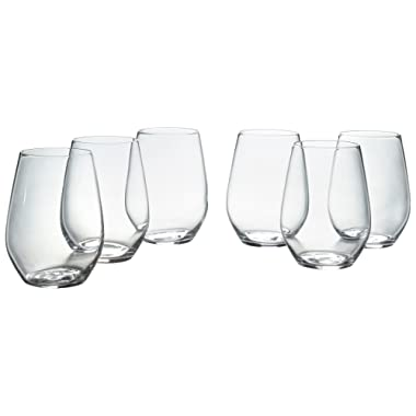 Stone & Beam Traditional Stemless White Wine Glass, 16-Ounce, Pack of 6