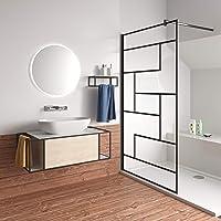 70x200cm Mamparas de Ducha Pantalla Panel Fijo estilo industrial negro Con Cuadrados Cristal Antical 8mm Barra2 90cm