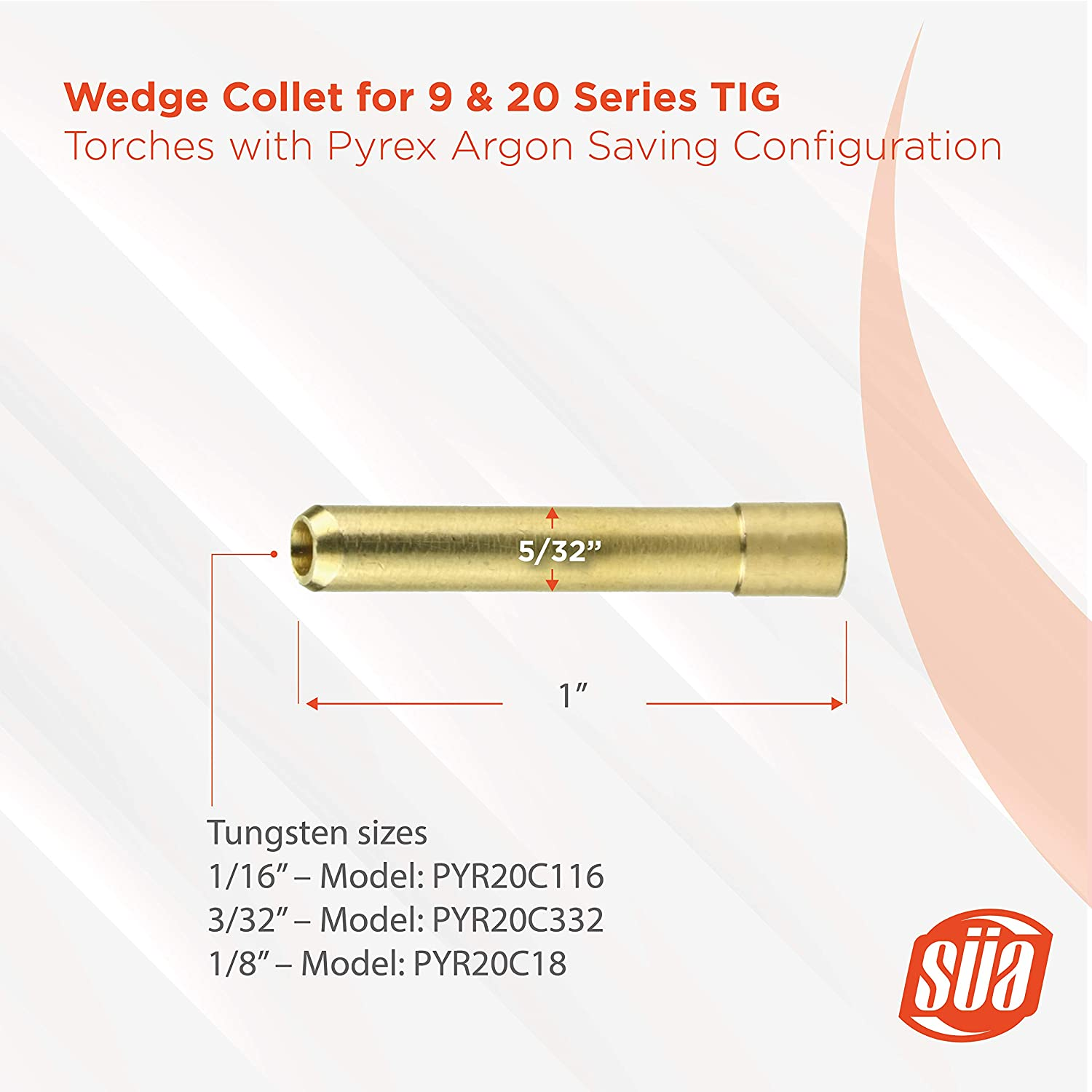 S/ÜA Size: 3//32 - Wedge Collet for 9 /& 20 Series TIG Torches with Fused Quartz Argon-Saving Configuration 10-PACK