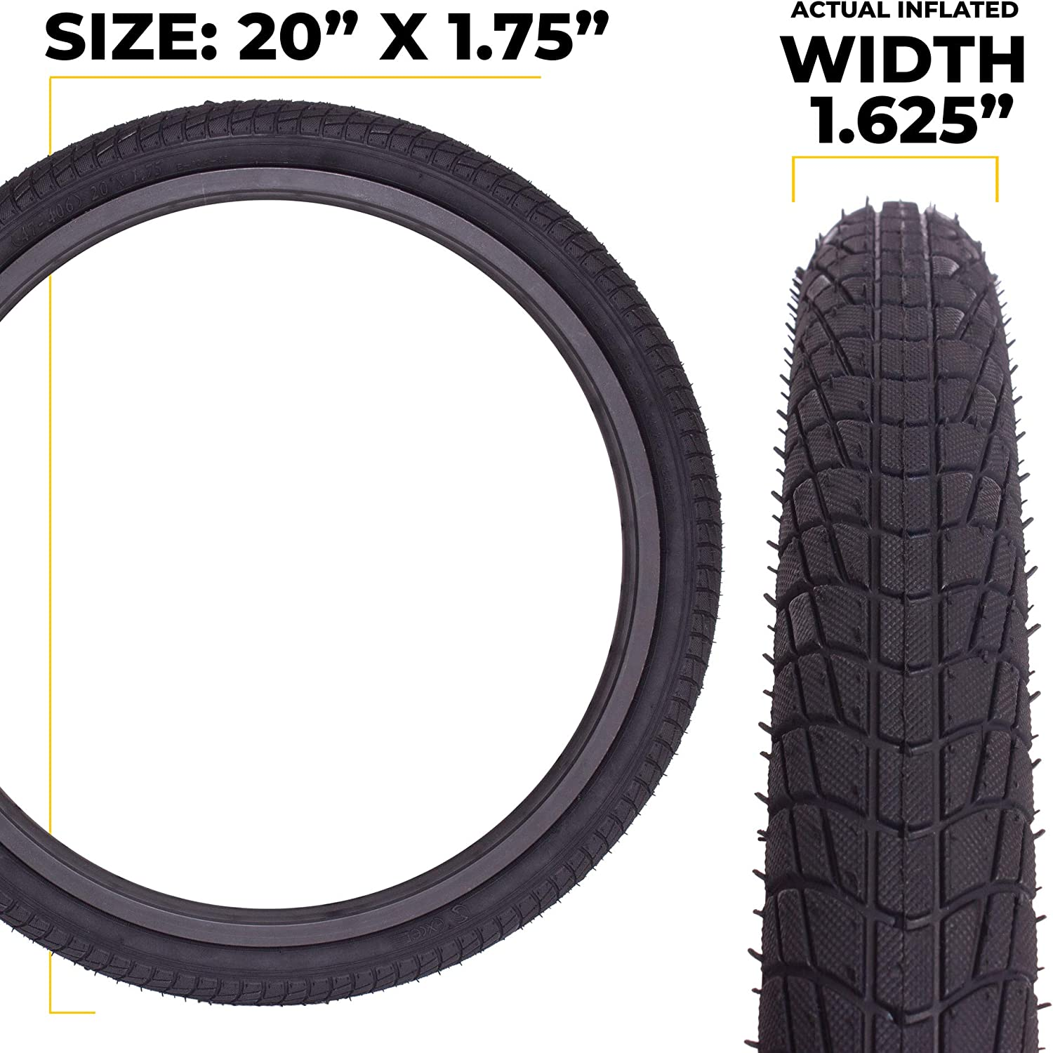 Tire Front or Rear Wheels Rims 1 Pack or 2 Pack. with or Without Tubes Eastern Bikes 20 Inch Bike Tire Packages for Kids and BMX Tires Fits 20x1.75 Bike Tube Includes Tire Tools