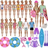 ZTWEDEN 42Pcs Doll Clothes and Swimming Accessories for 12 inch Boy and Girl Dolls Includes Bikini Swim Suit Swim Trunks Skat
