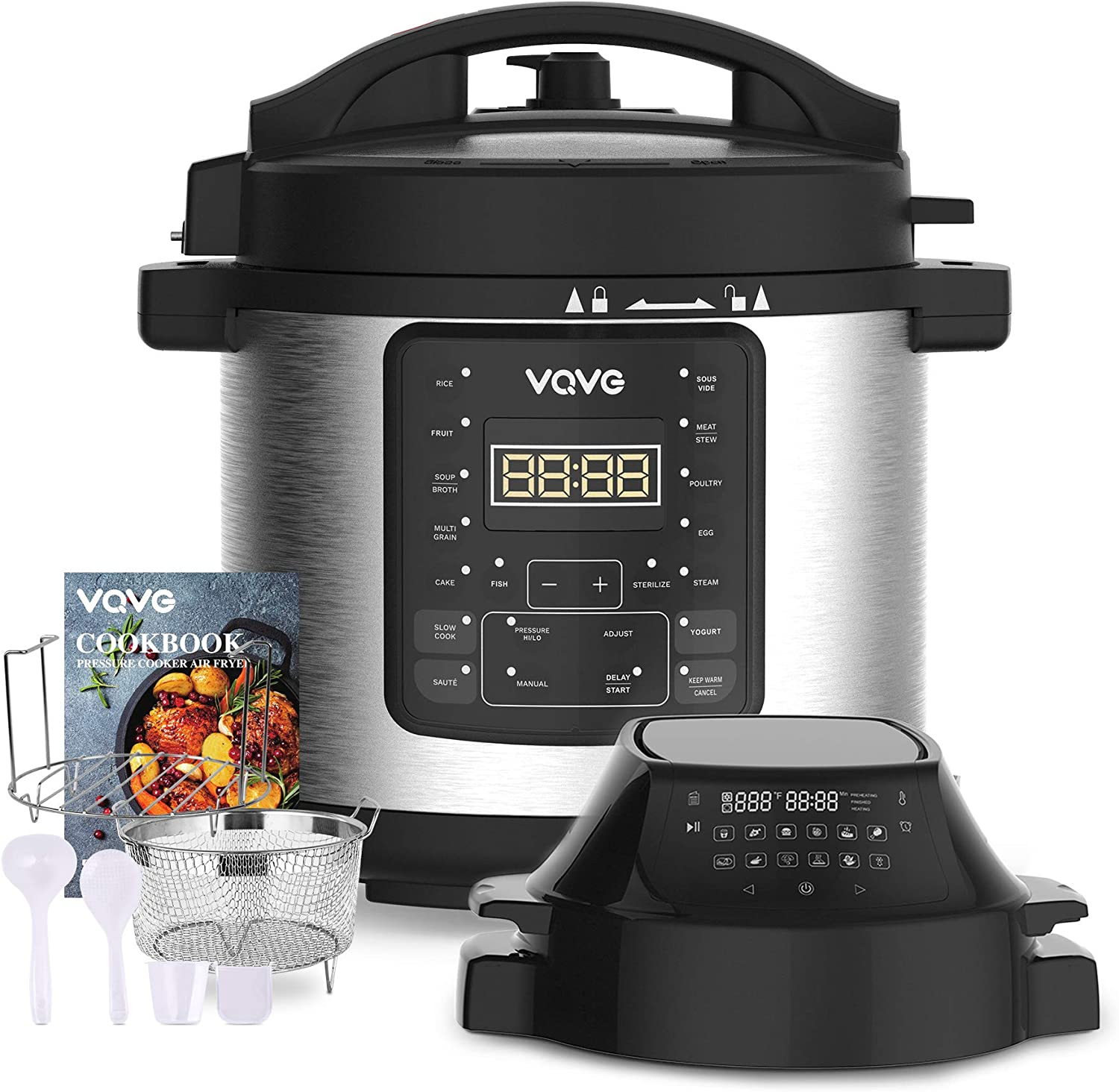 Pressure Cooker Air Fryer Combo - VQVG All-in-1 Multi-Cooker with Pressure & Crisp Lids Slow Cooker Steamer Air Fryer Broil Dehydrate and More 6 Quart Capacity Included Recipe Book & Accessories