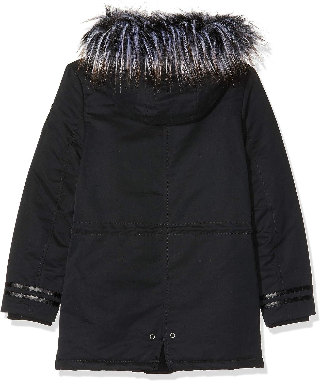 IKKS Junior M/ädchen Parka Longue Noire Capuche Interieur Sherpa Regenmantel