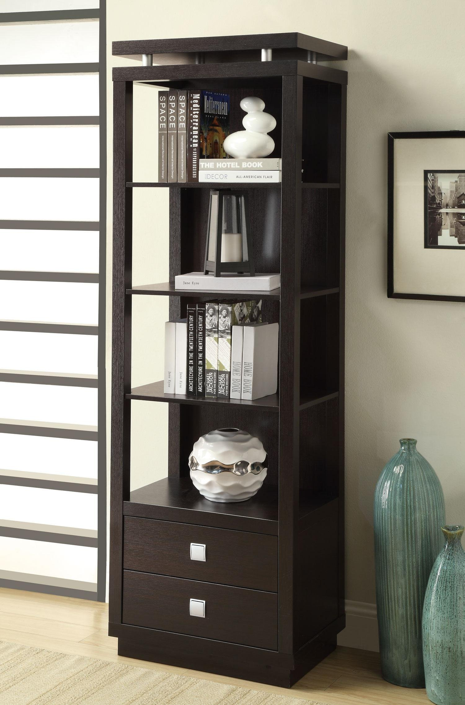 Coaster 800354-CO Entertainment Units Collection 74'''' Tall Media Tower with 2 Drawers 4 Shelves Square Metal Hardware and Wood Construction, Cappuccino Finish by Coaster Home Furnishings