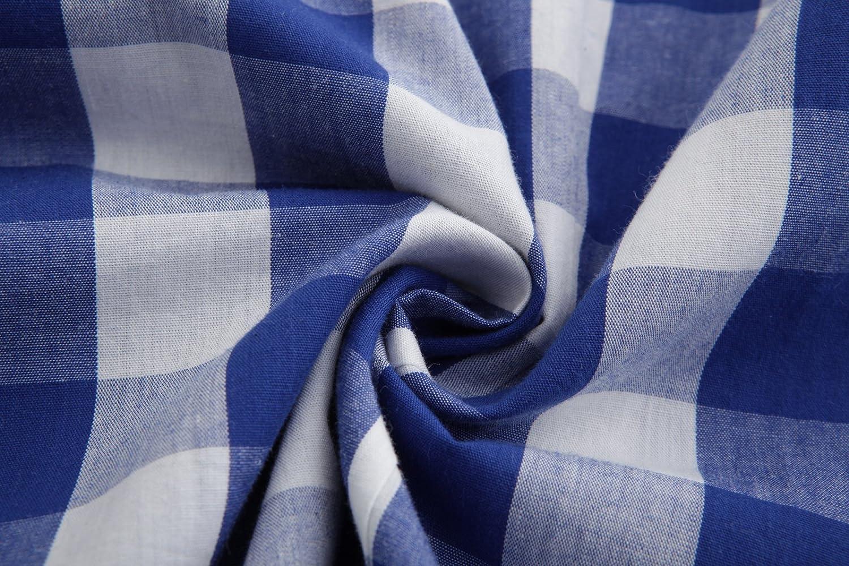 Emiqude Mens 100/% Cotton Slim Fit Long Sleeve Button Down Plaid Dress Shirt