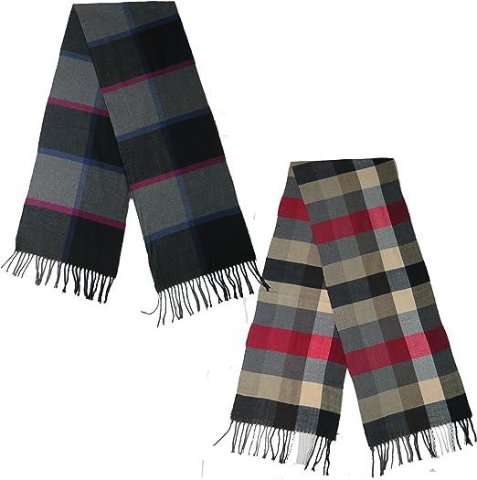 Men/'s Women/'s White Black Red Gray Stripe Plaid Cashmere Feel Scarf*100/%Acrylic