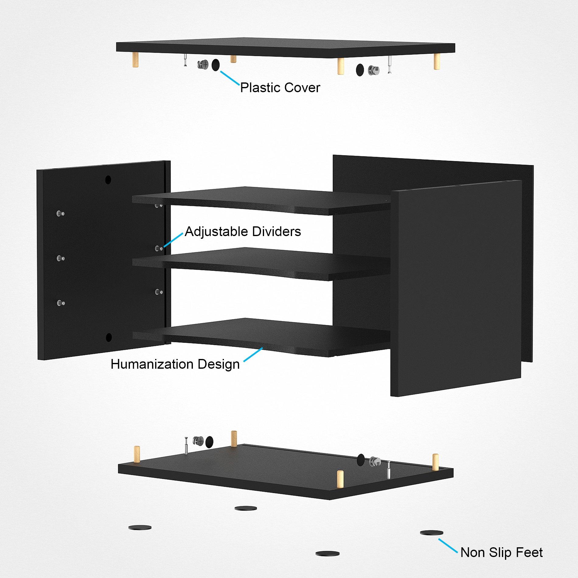 Fitueyes Wood Desk Organizer Workspace Organizers Black DO403501WB